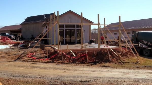 Construction of the tasting room addition has begun