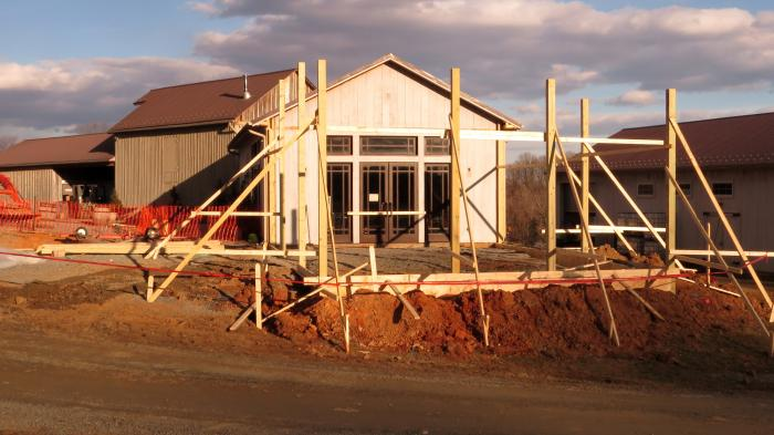 Framing is up, ready for concrete