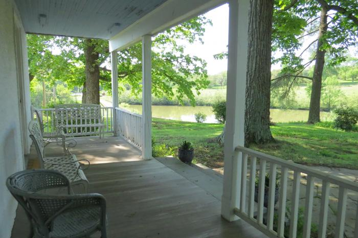 View of the pond from the front porch