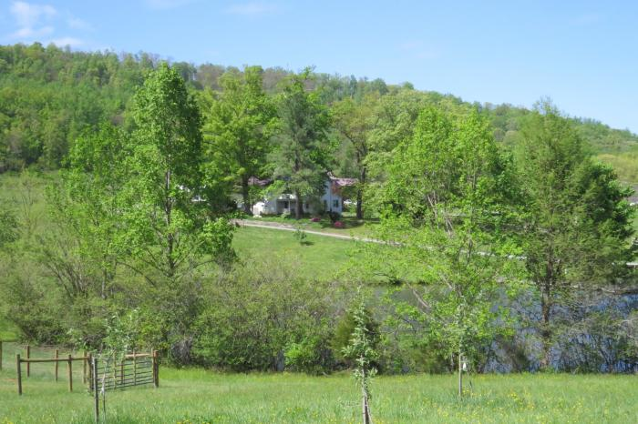 Rural Ridge in spring, with the guest house in front
