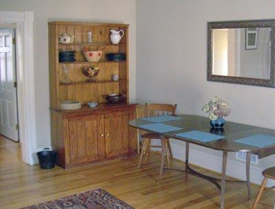 The dining room is fully-equipped for meals and entertaining.